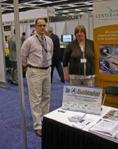Bill Noland, Air Washington and Sue Bradshaw, Center of Excellence attend the Aerospace and Defense Summit in Seattle this March.