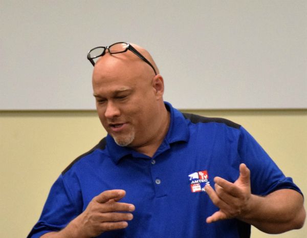 Craig Hopkins, program manager with AMTEC and the Kentucky Community and Technical College System provides hands on training and product development to support manufacturing companies in workforce development.